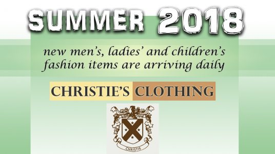 Summer 2018 fashion for men, ladies' and children is arriving daily at Christie's Clothing in downtown Collingwood